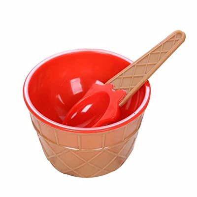 InKach Ice Cream Bowls with Spoons 12pcs Kids Plastic Ice Cream Dishes Dessert Cups Kit Gift (Red): Toys & Games