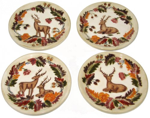 - Manual Grand Lodge Wildlife Autumn Deer Buck Doe Mini Plates - Set of 4