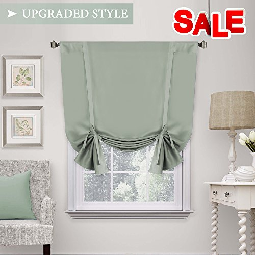 Solid Blackout Curtain Energy Efficient Tie Up Shades -Rod P