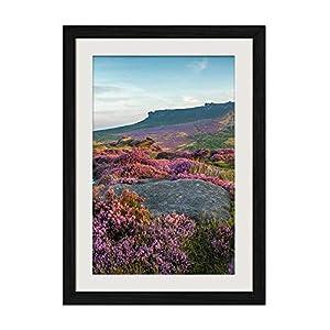 DZ.HAIKA Park Lavender Flowers - Natural Scenery Art Print Home Decor Wooden Frame Poster(Black Frame Vertical 12x16inch) 82