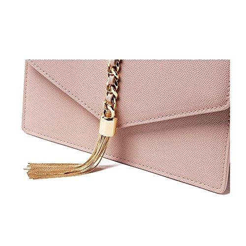AJLBT Bolso De Mujer Moda Europa Y América Borla PU Bolsa De Mensajero Bolso De Hombro Bolsa Cuadrada Pequeña Pink