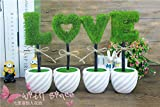 Supla 4 PCS LOVE Script Artificial Potted Plant Artificial Green Topiary LOVE Decoration Tree Ball Plants with white Ceramic pot