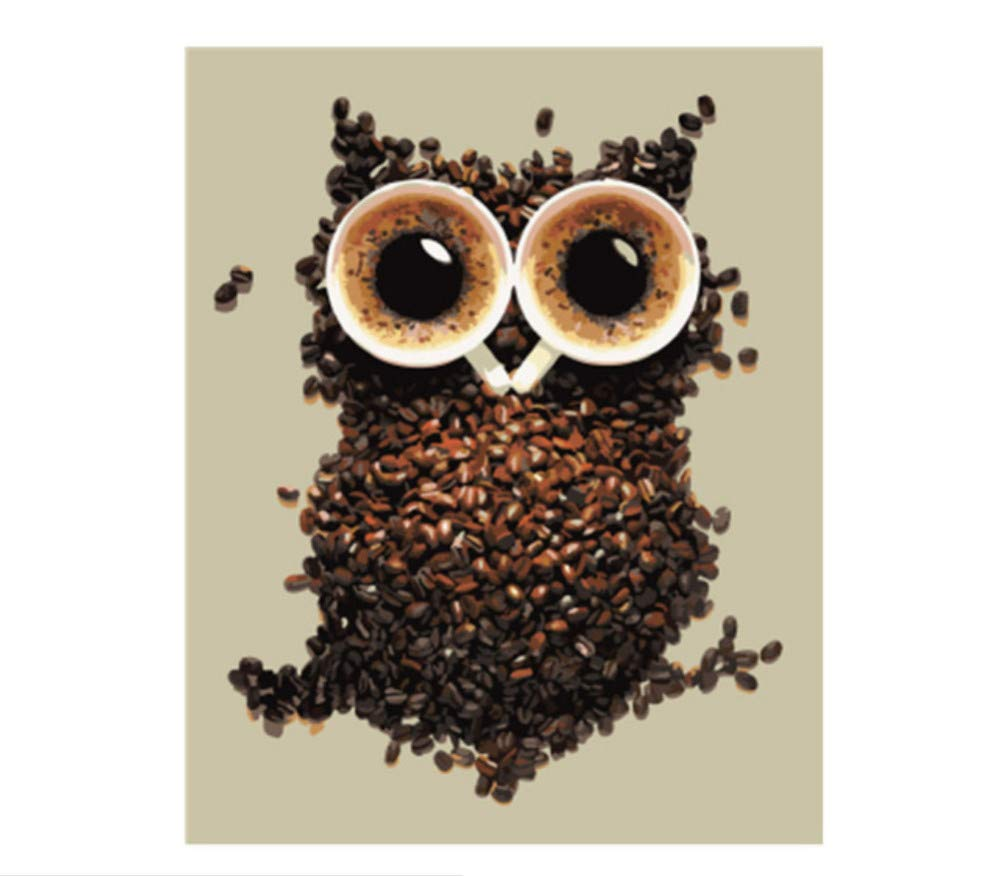 DIY Paint by Numbers Set Coffee Bean Owl Shape for Adult Home Decor Paint by Numbers for Junior-Rahmen 40X50Cm B07PFVF454 | Shopping Online