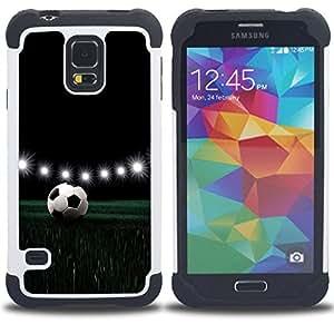 For Samsung Galaxy S5 I9600 G9009 G9008V - Football Stadium Night Lamps Lights Game /[Hybrid 3 en 1 Impacto resistente a prueba de golpes de protecci????n] de silicona y pl????stico Def/ - Super Marley S