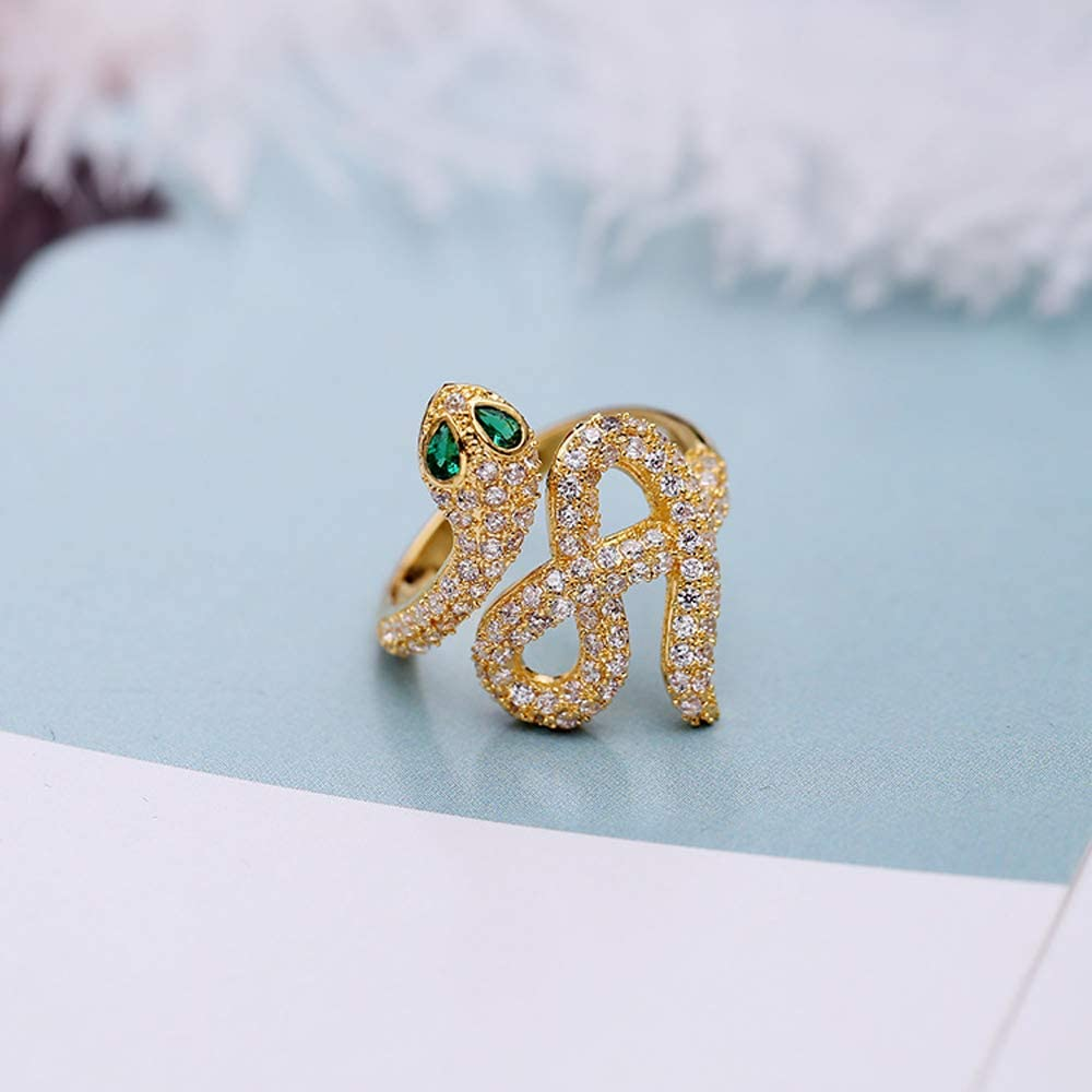 Zoungh Fashion Jewelry Rose Gold Plated Green Eyes Snake Ring Crystal Rings Adjustable Open Rings Silver Plated Crystal Twisted Snake Ring Jewelry