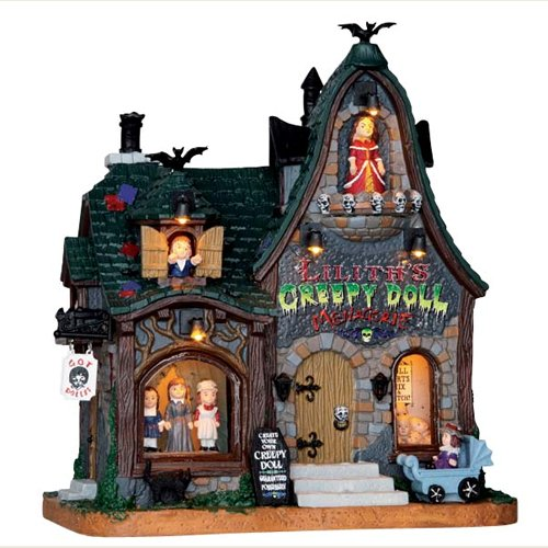 (2016 Lemax Halloween Creepy Doll Shop with Light and)