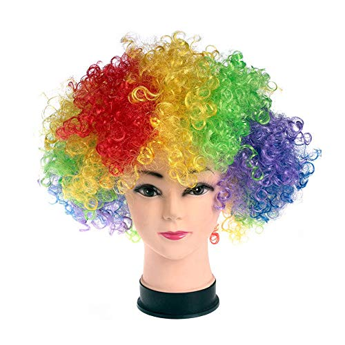 R STAR Funny Clown Curly Afro Wigs(Multicolor)