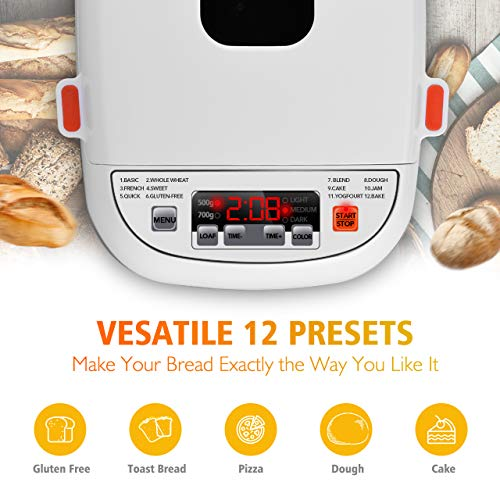 VIVREAL Bread Maker, Automatic Breadmaker Machine 1.5LB, Home Bakery Pro 12 Menus with Gluten Free, 3 Crust Colors 2 Loaf Sizes, 15h Delay Time 1h Keep Warm, Superior Safety ETL Listed Stainless Steel by VIVREAL (Image #2)