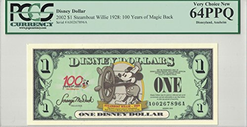 Disney Dollar 2002 $1 Steamboat Willie A00267896A PCGS 64 PPQ Very Choice New