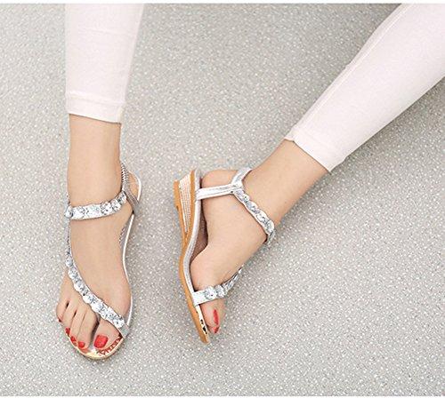 Scothen Señoras de Bohemia flip flop zapatos Rhinestone moldeados planas de la correa las sandalias del tobillo de los zapatos zapatillas verano de playa romana Trenzado T-Correa Gladiador Plata
