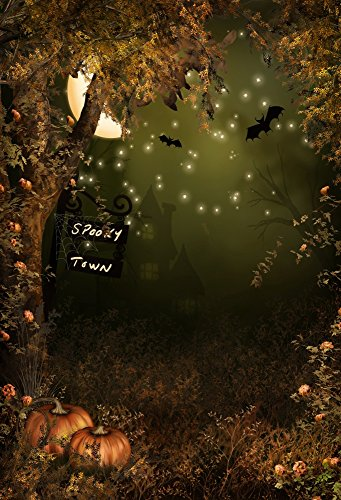 Laeacco Vinyl Backdrop 5x7FT Photography Background Scary Forest Dark Night Trees Pumpkins Moon Scene Halloween Kids Adults Background 1.5(W) x2.2(H) m Backdrop Video Photo Studio -