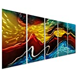 """Battle of the Elements Abstract Metal Wall Art Decor - Modern Landscape Set of 5 Panels Large Wall Artwork - Decorative Sculpture for Kitchen and Living Room - 64"""" x 24"""""""