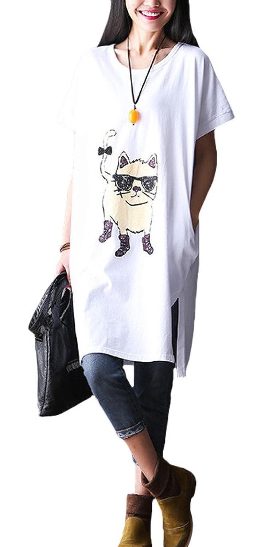 Vogstyle Damen Gedrucktes T-Shirt Kurzarmshirts Lose Bluse