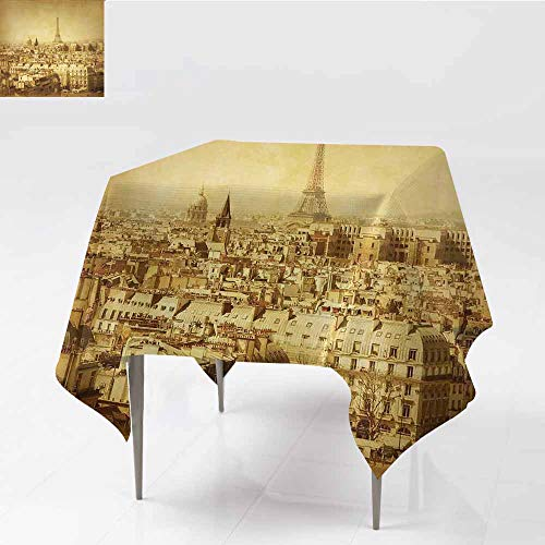 Diycon Restaurant Tablecloth Eiffel Tower Classic Photo of Eiffel Tower Paris National Landmark Old Album Memories Vintage Brown Party W36 xL43