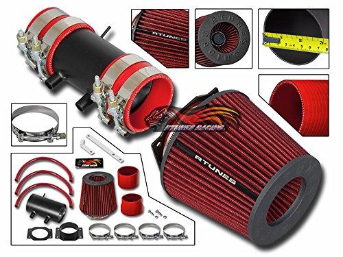R&L racing MATT BLACK Short Ram Air Intake Kit + RED For 99-04 Nissan Frontier Xterra with 3.3L (Nissan Xterra Intake)