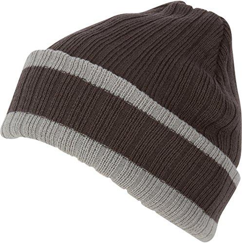 Three Stripe Beanie (Sakkas CADK1522 - Nixon Unisex Ribbed Stripe Beanie Cap - 3-Charcoal -)
