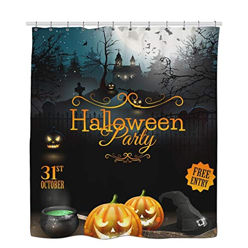 RHATTOWN Halloween Shower Curtain Set, Poster Shower Curtain, Detailed Halloween Party Flyer with Pumpkins Broom in Front of Scary Castle Shower Curtain - 36 x 72 Inches