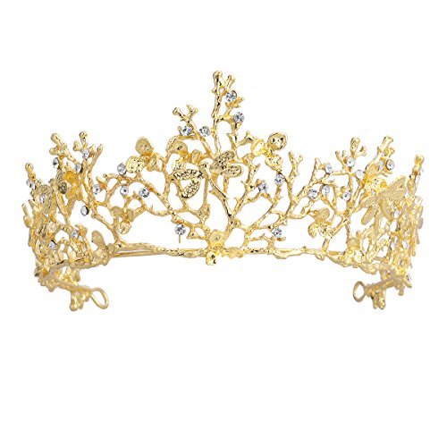 Frcolor Wedding Tiara Flower Bridal Princess Queen Crown Baroque Vintage Rhinestone Headband for Party Wedding - Flower Baroque