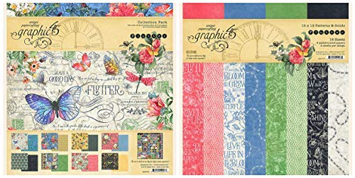 Graphic 45 - 12 x 12 Inch Decorative Papers - Flutter Collection Pack and Flutter Patterns & Solids Paper Pad