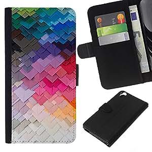 KLONGSHOP // Tirón de la caja Cartera de cuero con ranuras para tarjetas - Arte moderno de construcción Colores - HTC Desire 820 //