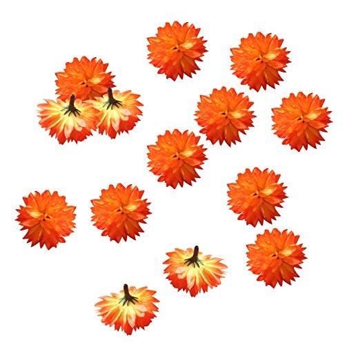 100 PCS Orange Chrysanthemum Fake Flower Heads Wedding Decortions 1.5