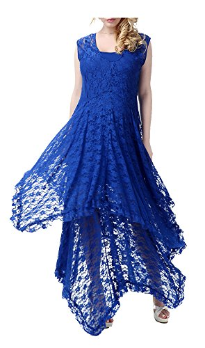 Wantdo Women's Embroidered Beach Dress Maxi Dress Crochet Smock(Sapphire Blue US 1X) (Embroidered Smock Dress)