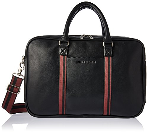"Ben Sherman Faux Leather Double Gusset Top Zip 15"" Computer Case Laptop Briefcase, Black, One Size by Ben Sherman"