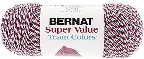 Bernat Super Value Team Colors Yarn, 5 Ounce, Red/Navy/White, Single Ball
