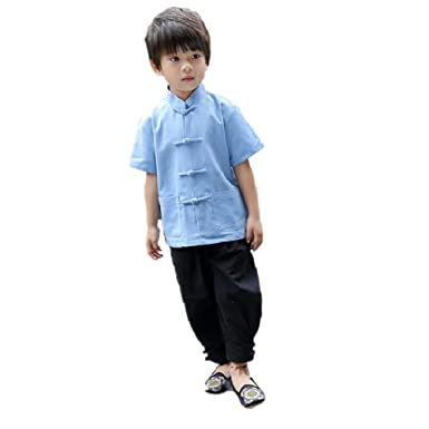 ffaa3495e Amazon.com: Chinese Traditional Children Clothes Tang Suit Boy Shirt  Trouser Qipao Set: Clothing