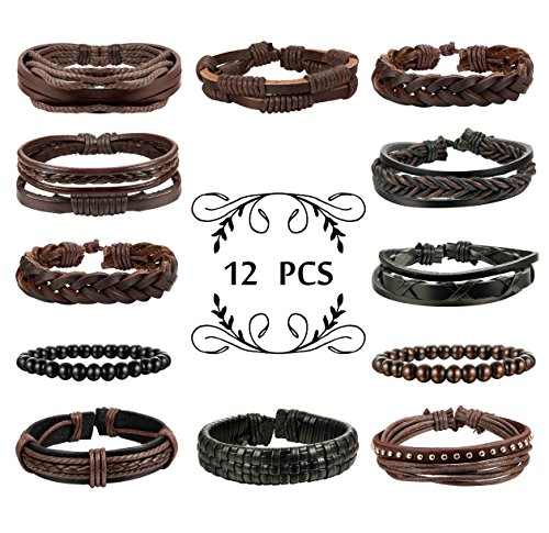 FIBO STEEL 12 Pcs Braided Leather Bracelets for Men Women Wooden Beaded Bracelets Wrap Adjustable Beaded Leather