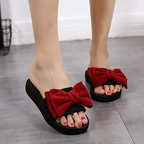 IGEMY Women Bow Summer Sandals Slipper Indoor Outdoor Flip-Flops Flat Slipper Beach Shoes Red 08AQu