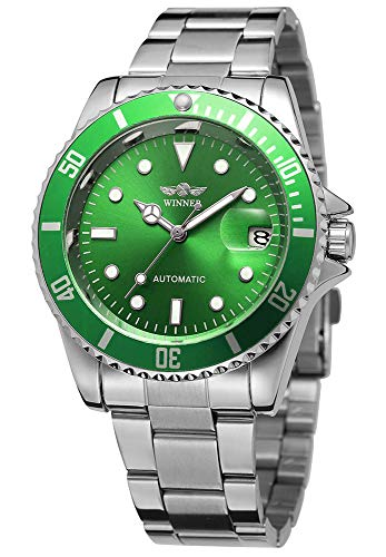 Men Automatic Mechanical Watches Winner Luxury Brand Full Steel Waterproof Mens Watches With Calendar (Silver Green)