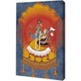 "PrintArt GW-POD-64-267678-15x24 ""Vishnu and Lakshmi Enthroned"" by Basohli School Gallery Wrapped Giclee Canvas Art Print, 15"" x 24"""