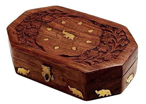 Handcrafted Wooden Jewelry Keepsake Trinket Box Home Decor Storage Box with Brass Elephant Inlays from storeindya