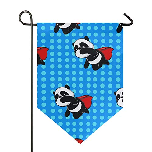 YATELI Garden Flag 28x40 Inches Dots Pattern Lovely Super Panda Double Sided Banner for Outdoor Lawn Decor