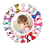 Sufermee 40 pcs (20 Pairs) Baby Girls Ribbon Hair Bow Clips Printed Pattern Hairpins Non-Slip Hair Barrettes Hair Accessories for Toddlers Girls Teens Kids