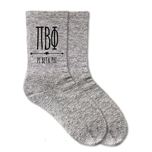 Pi Beta Phi Sorority Socks - Boho Sorority Letters on Ladies Crew Socks - White, Pink and Heather Gray (Heather Gray)