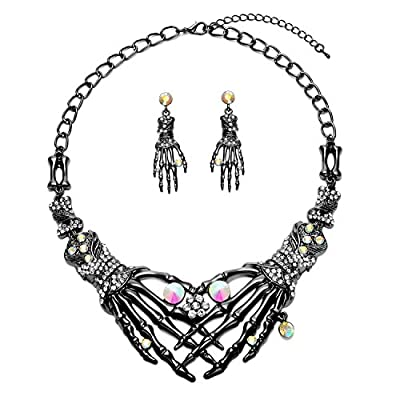 Zhenhui Halloween Vintage Austrian Crystal Ghost Claw Skeleton Skull Shaped Statement Necklace Drop Earrings Jewelry Set for Women