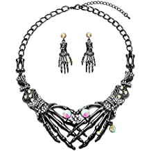 Punk Necklace Earrings Set - Hypoallergenic Gothic Skull Skeleton Choker Statement Necklace Earrings Jewelry Set For Women,Girls Including 1 Chunky Necklace,1 Drop Earrings