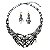 #7: Punk Necklace Earrings Set - Hypoallergenic Gothic Skull Skeleton Choker Statement Necklace Earrings Jewelry Set For Women,Girls Including 1 Chunky Necklace,1 Drop Earrings