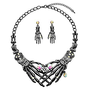 Punk Necklace Earrings Set – Hypoallergenic Gothic Skull Skeleton Choker Statement Necklace Earrings Jewelry Set For Women,Girls Including 1 Chunky Necklace,1 Drop Earrings