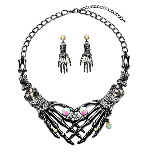 Halloween Earrings Necklace Set - Skull Skeleton Hand Gothic Punk Crystal Drop Earrings Statement Necklace Costume Jewelry for Women Girl with 1 Dangle Earrings 1 Chunky Choker Necklace (Cheap Costumes Jewellery)