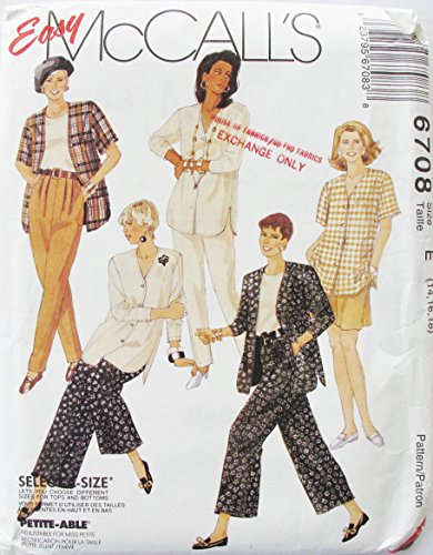 McCall's 6708 Vintage Misses Cardigan Top Pants Culottes and Shorts SZ 14-16-18 SEWING PATTERN