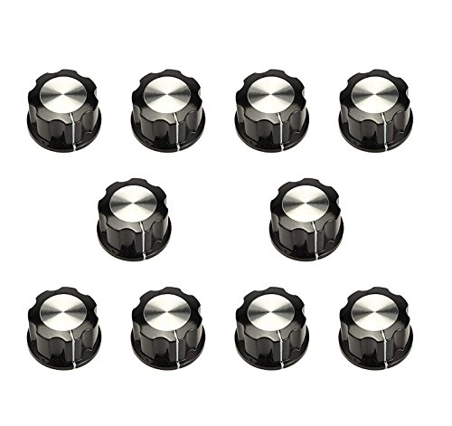 Karcy 10Pcs 6mm Hole Dia Electric Bakelite Rotary Knob Cover Speaker Potentiometer for Cabinet & Furniture Knobs, etc. Black