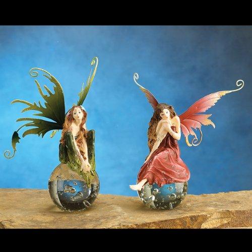 Gorgeous Fairy Collection Dream Fairy Sitting on Crystal Ball Figurine Statue Shelf Desk Decoration- 2 Pcs/Set (Dream Fairy Figurine)