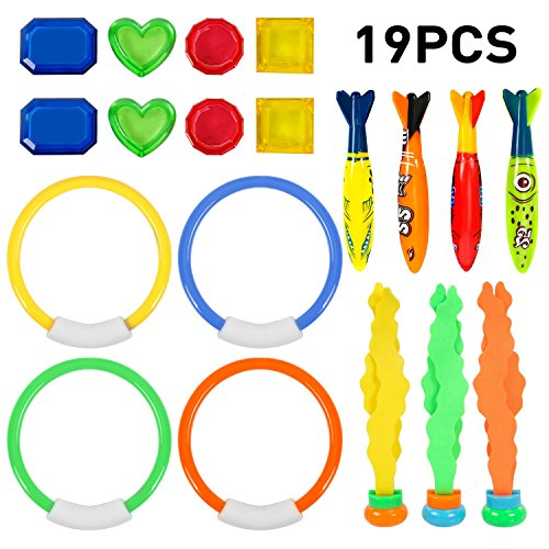 Uneede Diving Toy Underwater Swimming Diving Pool Toy Rings 19 Pack For Pool Use  Toypedo Bandits Stringy Octopus With Under Water Treasures Gift Set Bundle Ages 3 And Up