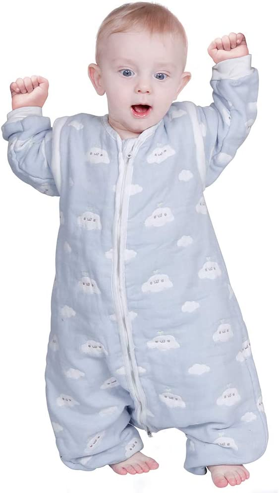 de 100/% Algod/ón Org/ánico de Motivo de Cielo Azul y Nubes Blancas 65-85cm Lictin Saco de Dormir para Beb/és- 2.0Tog Saco de Dormir con Mangas Extra/íbles para Ni/ños de 0-1,5 A/ños de 65 a 85 cm S