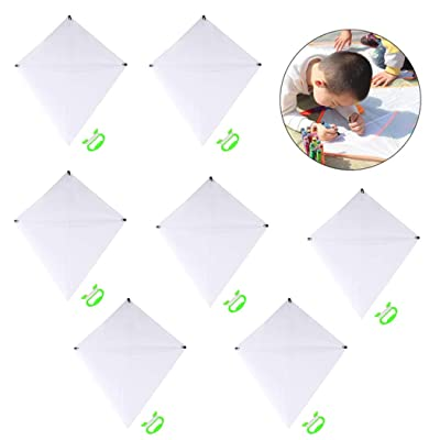 FunPa 7PCS DIY Kites for Kids, Kids Kite Creative Blank Paint DIY Fashion Flying Kite with Roll and Line Outdoor Toys for Beginners: Office Products