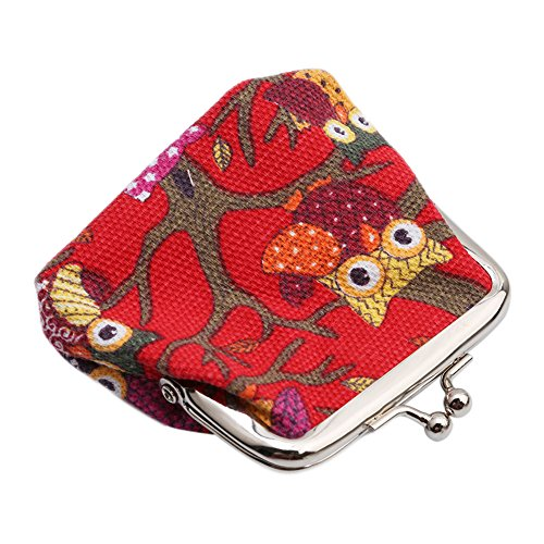 Red Bag Purse Vintage Lovely Gluckliy Lady Handbag Women's Small Coin Clutch Purse Owl Wallet xOPYw1Hq