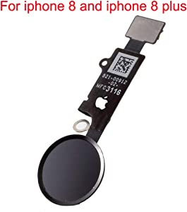 Afeax Compatible Home Button Main Key with Flex Cable Replacement for iPhone 8 and 8 Plus (Black or Space Grey)